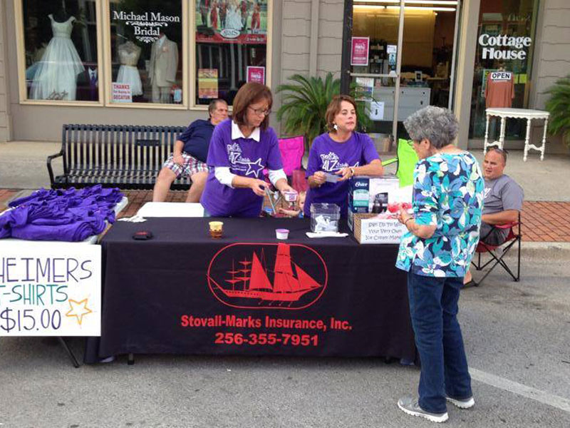 Stovall Marks Insurance booth at Walk to End Alzheimers event.