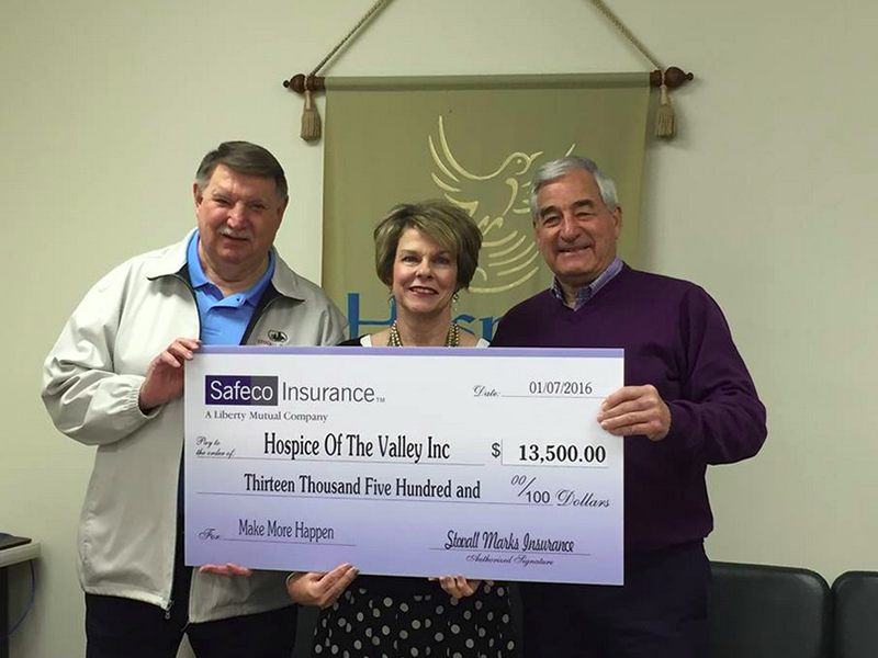 Stovall Marks Insurance with check for Hospice of the Valley.